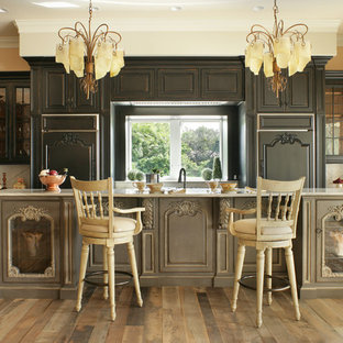 他の地域のヴィクトリアン調のおしゃれなキッチン (レイズドパネル扉のキャビネット、黒いキャビネット、パネルと同色の調理設備、無垢フローリング、茶色い床、グレーのキッチンカウンター) の写真