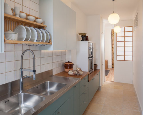 Small Scandinavian Galley Kitchen In London With A Double Bowl Sink,  Flat Panel