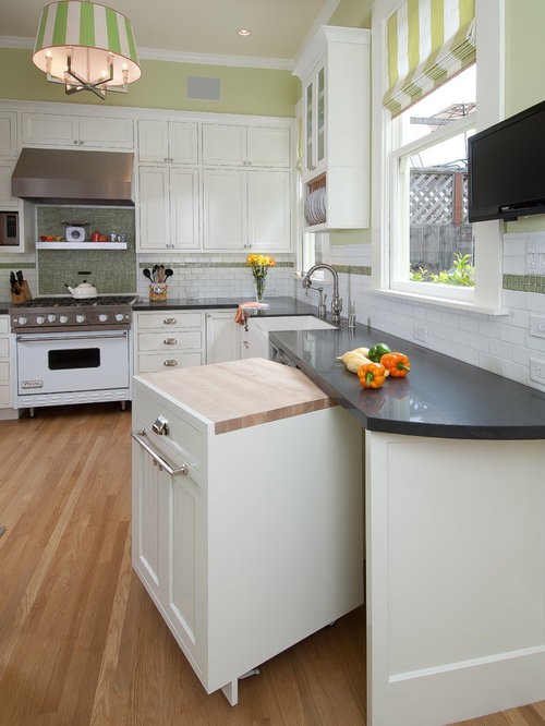 Contemporary Kitchen Idea In San Francisco With White Appliances, A  Farmhouse Sink, Recessed