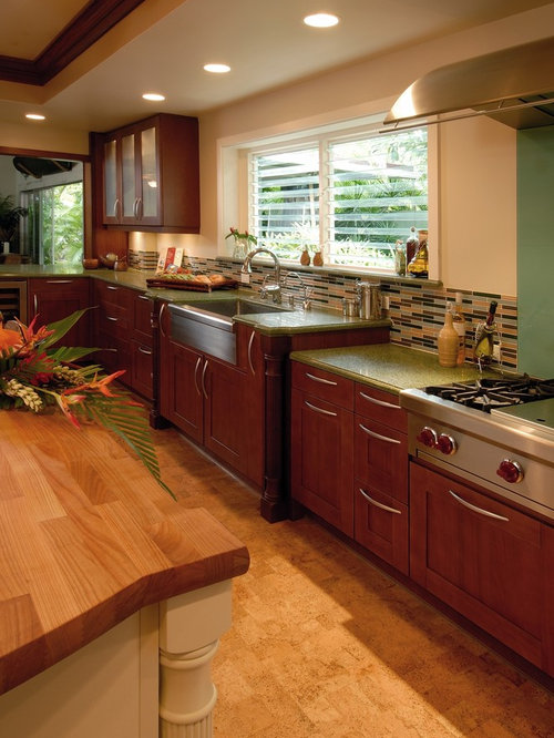 Inspiration For A Tropical Cork Floor Eat In Kitchen Remodel In Hawaii With  A Farmhouse