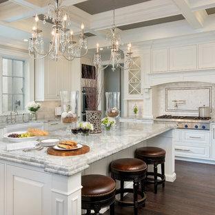 コロンバスの大きいトラディショナルスタイルのおしゃれなキッチン (エプロンフロントシンク、白いキャビネット、御影石カウンター、レイズドパネル扉のキャビネット、白いキッチンパネル、シルバーの調理設備の、濃色無垢フローリング) の写真