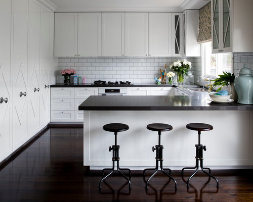 Transitional U Shaped Kitchen Photo In Sydney With White Cabinets,  Recessed Panel Cabinets