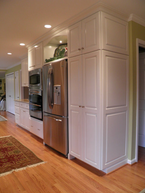 built in refrigerator with pantry cabinet houzz