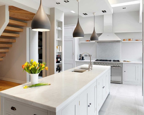 Photo Of A Large Contemporary Open Plan Kitchen In London With A  Double Bowl Sink