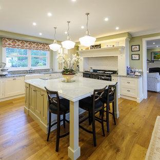 Esempio di una cucina classica con lavello stile country, ante con riquadro incassato, ante bianche, top in marmo, paraspruzzi bianco e isola