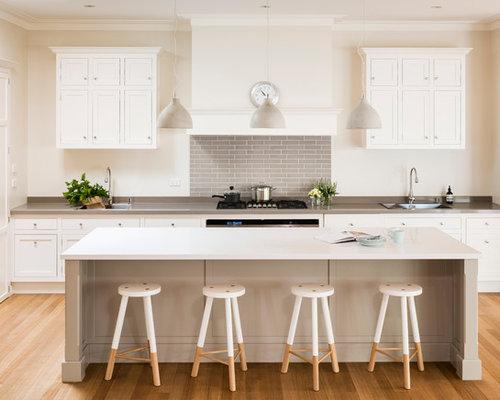 White Kitchen Grey Splashback kitchen design ideas, renovations & photos with grey splashback