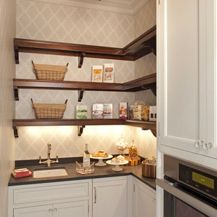 Design ideas for a large traditional kitchen pantry in Minneapolis with an undermount sink, recessed-panel cabinets, white cabinets, granite benchtops, stainless steel appliances, dark hardwood floors and with island.