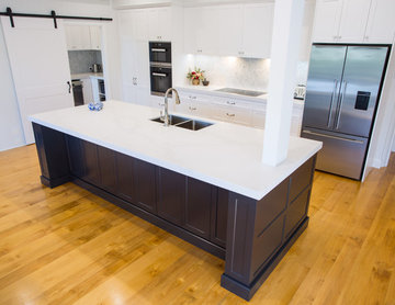 Hamptons kitchen with combined butlers pantry and laundry