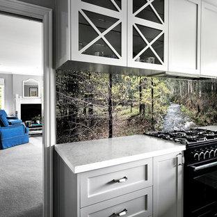 Hamptons style kitchen.  VR Art Glass | Splashbacks with art