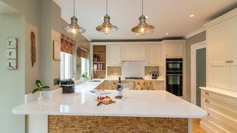 Hand-painted kitchen with quartz worktop