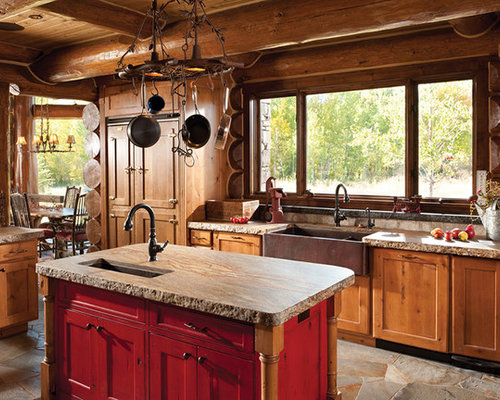 Handcrafted log home the jackson hole residence for Kitchen jackson hole