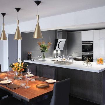 Handleless Monochrome Kitchen