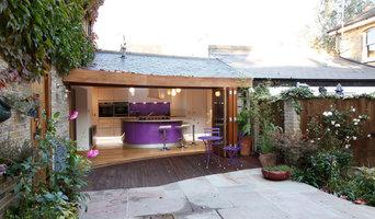 Handleless purple kitchen in Lewisham