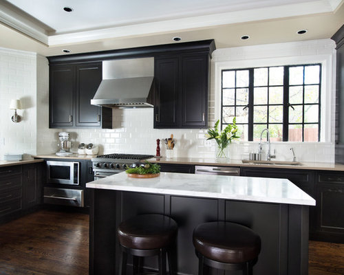 Transitional Kitchen Photos   Inspiration For A Transitional Dark Wood  Floor Kitchen Remodel In Kansas City