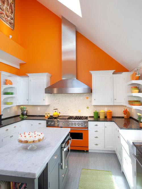 Orange kitchen design ideas renovations amp photos with coloured