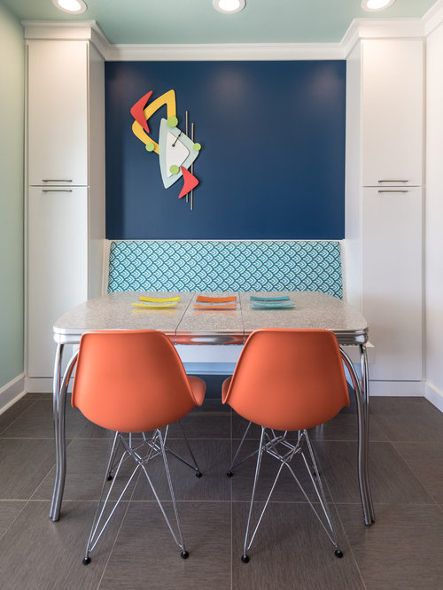 Eclectic Eat In Kitchen Idea In St Louis With Flat Panel Cabinets, Blue