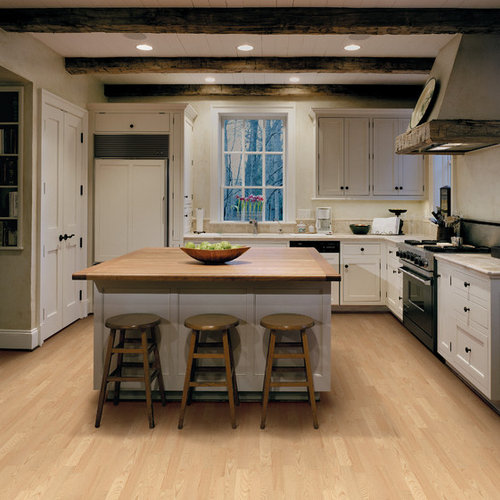 country l shaped enclosed kitchen photo in san francisco with shaker cabinets white cabinets - Farmhouse Kitchen Design Ideas