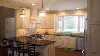 Harrington, DE. White cabinets with a brown glaze