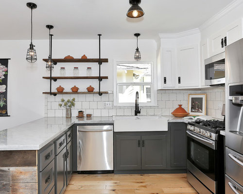 4 255 eclectic kitchen with white cabinets design ideas