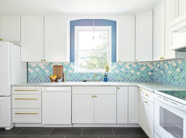 A Designers New Kitchen Embraces Soothing Sea Blue Colors