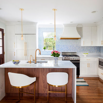 Example of a small transitional l-shaped dark wood floor kitchen design in Philadelphia with an undermount sink, white cabinets, quartzite countertops, blue backsplash, mosaic tile backsplash, an island, shaker cabinets and stainless steel appliances