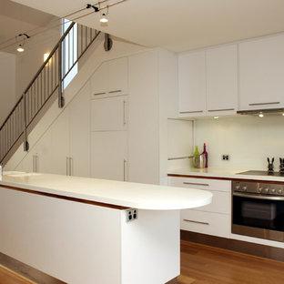 Exemple d'une cuisine tendance avec un placard à porte plane et des portes de placard blanches.