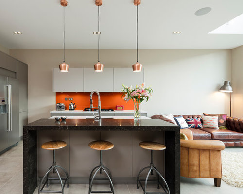 White Kitchen Orange Splashback kitchen ideas & inspiration with orange splashback
