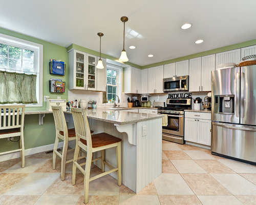 Elegant Kitchen Photo In DC Metro With Recessed Panel Cabinets, White  Cabinets, White