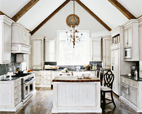 Rustic white cabinets houzz for Rustic white kitchen cabinets