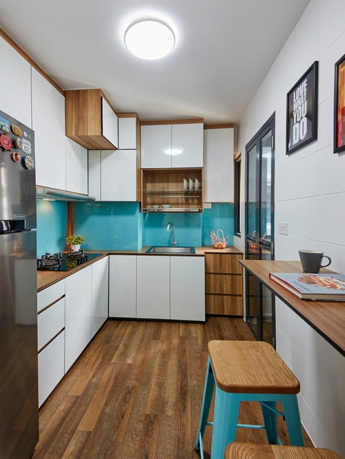 Small Contemporary L Shaped Kitchen In Singapore With A Single Bowl Sink,  Flat