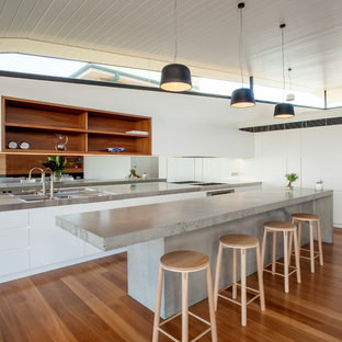 Large contemporary galley open plan kitchen in Sydney with white cabinets, concrete benchtops, stainless steel appliances, medium hardwood floors, with island, a double-bowl sink, flat-panel cabinets, metallic splashback, mirror splashback and brown floor.