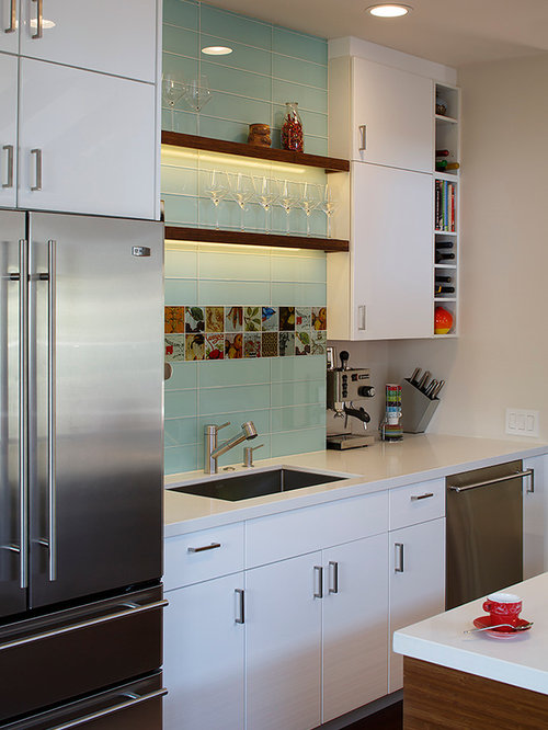 Trendy Galley Eat In Kitchen Photo In San Francisco With An Undermount Sink Flat
