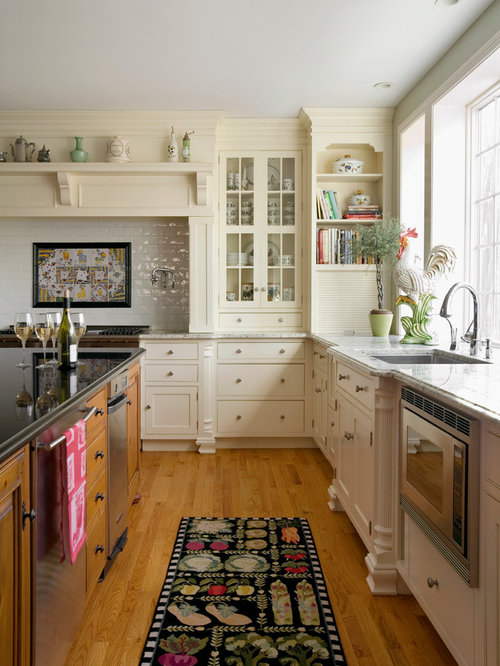 Elegant L Shaped Eat In Kitchen Photo In Boston With An Undermount Sink