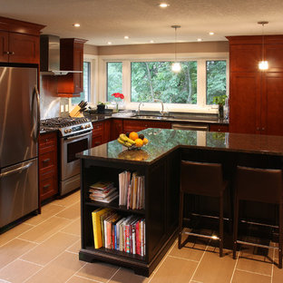 Kitchen - contemporary l-shaped kitchen idea in Toronto with stainless steel appliances, an undermount sink, recessed-panel cabinets, dark wood cabinets and granite countertops