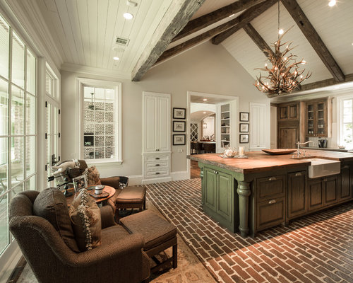 Half cathedral ceiling houzz for Half vaulted ceiling with beams