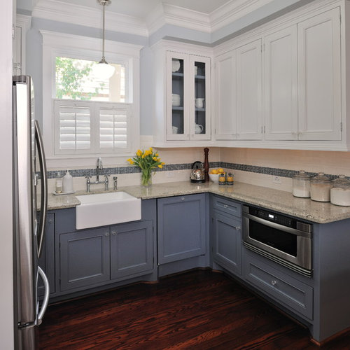 Upper Cabinets Kitchen: Dark Lower White Upper Cabinets