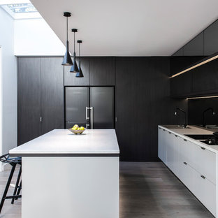 Mid-sized contemporary kitchen in Sydney with flat-panel cabinets, light hardwood floors, with island, a double-bowl sink, black splashback and glass sheet splashback.