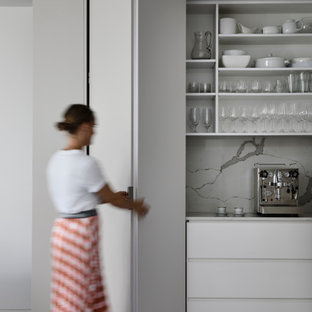 Photo of a contemporary kitchen pantry in Melbourne.