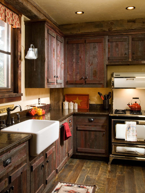 Perfect Example Of A Mountain Style Kitchen Design In Denver With A Farmhouse Sink