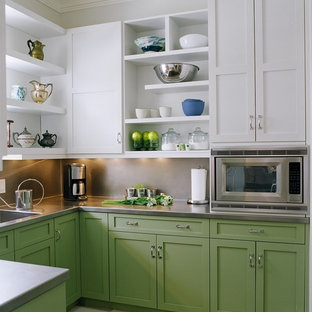Design ideas for a transitional u-shaped kitchen in Nashville with an integrated sink, shaker cabinets, green cabinets, stainless steel benchtops, metallic splashback, stainless steel appliances and no island.