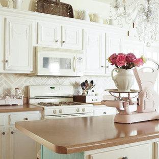 Herringbone Brick Stenciled Kitchen Backsplash
