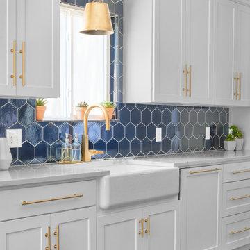 Hex Tile Backsplash in Glossy Navy Blue
