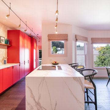 Hex Tiles with Red Kitchen Cabinets