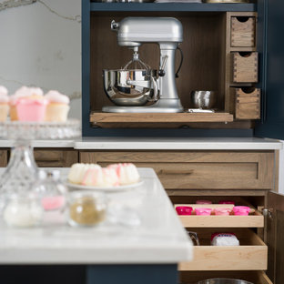 Hickory & Blue Modern Farmhouse Kitchen with Baking Station Larder Cabinet