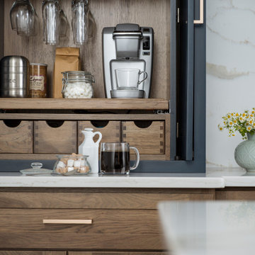 Hickory & Blue Modern Farmhouse Kitchen with Beverage Station / Center Cabinet S