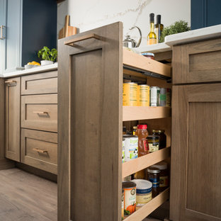Hickory & Blue Modern Farmhouse Kitchen with Pull-Out Pantry Cabinet Storage
