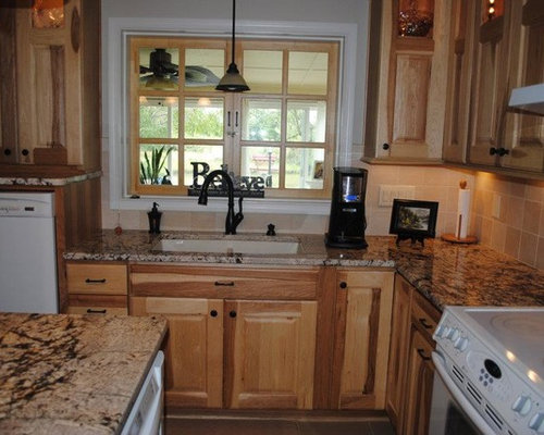 Kitchen Remodel with Hickory Cabinets and Gold/Silver Granite