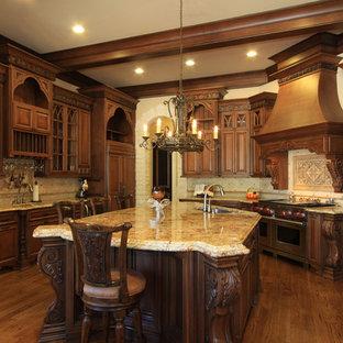 Example Of A Huge Clic U Shaped Medium Tone Wood Floor Eat In Kitchen