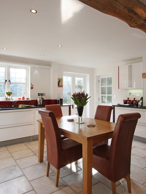 Contemporary Eat In Kitchen Idea Hampshire With Flat Panel Cabinets And White