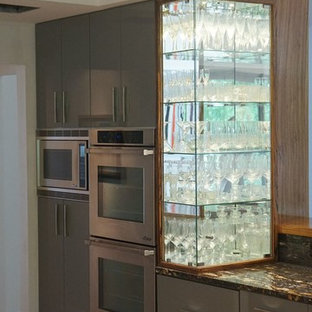 High Gloss White and Grey contemporary kitchen